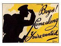 Boys Come Along, Army Recruitment Poster, WW1, 1914-1918.