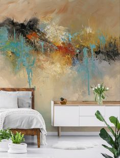 How to add a wall mural step by step with Wallsauce. Add a stunning floral wall mural in any room and make it stand out! Discover our large collection of wall murals and our step by step tutorial! How To Hang Wallpaper, Kids Wallpaper, Geometric Wallpaper, Colorful Wallpaper, Photo Wallpaper, Wallpaper Murals, Wall Murals, Bedroom Wallpaper, Wallpaper Ideas