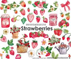 Strawberry clip art, hand painted watercolor clip art, digital flowers, homemade, fruit clipart, 56 PNG  files (5241) by SandraGraphicDesign on Etsy https://www.etsy.com/listing/449017692/strawberry-clip-art-hand-painted