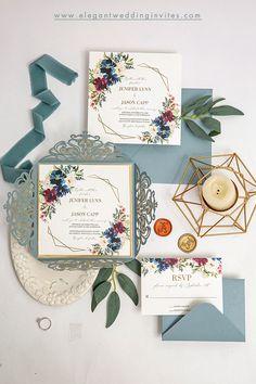 vintage chic dusty blue and burgundy wedding invitation #ewi #weddinginvitations