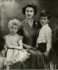 Queen Elizabeth and two of her children, Princess Anne and Prince Charles.  Princess Anne. The forgotten child? Kidnapping attempt in the 70's. We could play with this in dialogue? Relational ideal for a time period's heroine? Meh. Maybe.