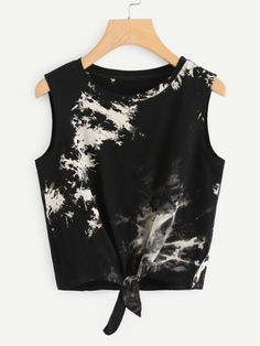 SheIn offers Bleach Dye Knot Front T… Shop Bleach Dye Knot Front Tank Top online. SheIn offers Bleach Dye Knot Front Tank Top & more to fit your fashionable needs. Teenage Outfits, Teen Fashion Outfits, Edgy Outfits, Womens Fashion, Fashion Fashion, Fashion Brands, Fashion Ideas, Fashion Jewelry, Vintage Fashion