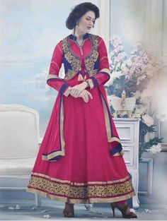 Pink Georgette Anarkali Suit with Embroidery and Handwork
