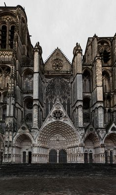 Cathedrale de Bourges, France Cathedrals are my eye candy Gothic Architecture, Beautiful Architecture, Beautiful Buildings, Architecture Details, Beautiful Places, Cathedral Basilica, Cathedral Church, Oh The Places You'll Go, Places To Travel
