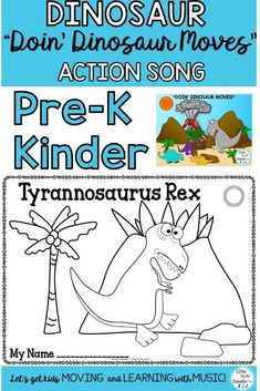"Let's read and move like DINOSAURS! Use the colorful power point as a book, the mini books in stations, the flash cards to teach vocabulary and gross motor actions. ""Doin Dinosaur Moves"" will get your students moving and learning with music. Movement Preschool, Preschool Music Activities, Music Education Activities, Kindergarten Songs, Writing Activities, Teaching Resources, Action Songs, Literacy Stations, Elementary Music"