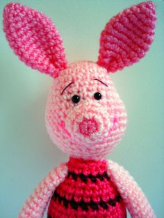 A crocheted Piglet stuffed animal!