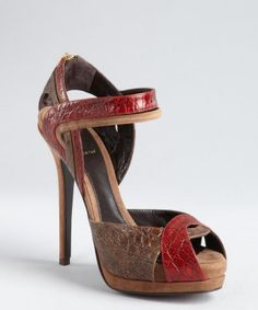 Fendi : red and brown snake embossed leather strapped platform sandals