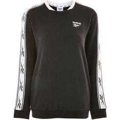 Vector Tape Crew Sweatshirt by Reebok (110 AUD) ❤ liked on Polyvore featuring tops, hoodies, sweatshirts, black, cotton sweatshirts, crew top, cotton crew neck sweatshirt, crew neck top and reebok sweatshirt