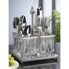 Southern Living At home Astoria Flatware Caddy Metal Glass Silverware Utensil Silverware Caddy, Flatware Storage, Utensil Caddy, Cutlery, Small Flower Arrangements, Southern Living Homes, Glass Material, Cuisines Design, Bar Tools