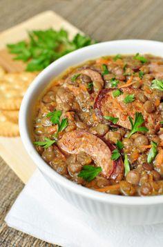 German Lentils With Sausage Soup - ELLEDecor.com