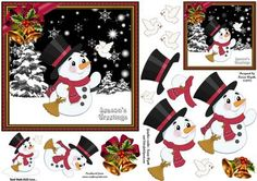 Season s Greetings Little Snowman on Craftsuprint designed by Karen Wyeth - A cute quick card topper with additional decoupage items, embellishments and a matching smaller gift tag topper. xk - Now available for download!