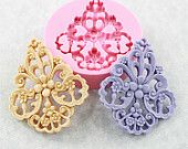 NEW Large Flower Filigree Mold Victorian Mould Resin Mold Earrings 59mm (311)