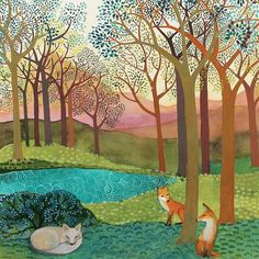 La Volpe by Melissa Launay, Fine Art Greeting Card, Gouache on Paper, Spring landscape with two red foxes and a sleeping white fox Gouache Painting, Watercolor Paintings, Greeting Cards Uk, Pop Art Images, Karla Gerard, Art Carte, Forest Illustration, Spring Landscape, Fox Art