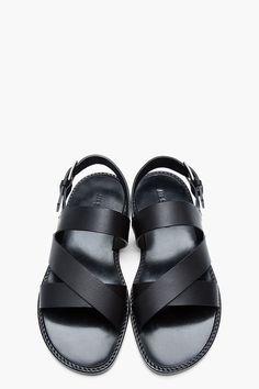 JIL SANDER Black leather Strap Sandals