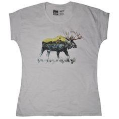 Camiseta feminina MOOSE, modelagem boyfriend
