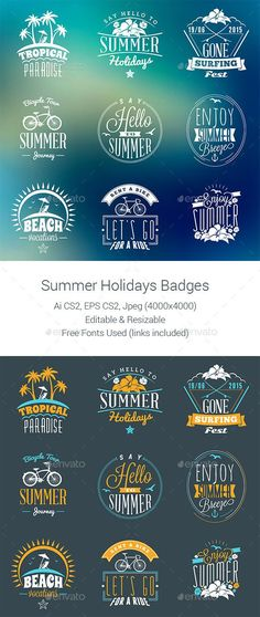 Summer Holiday Badges Template #badges Download: http://graphicriver.net/item/summer-holiday-badges/11732105?ref=ksioks