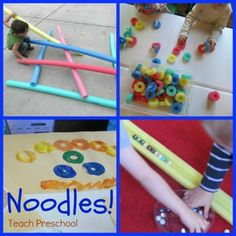 Ten Ways to Use Your Noodles! On the website a commenter said she uses noodles to set up obstacle courses by putting wooden sticks in the ground and attaching the noodles holes onto the sticks to create arches for her children to run and crawl under. Such a great idea!