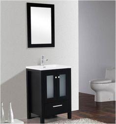 "Brezza 30"" Espresso, Frosted Glass Bathroom Vanity - The Vanity Store Canada - 30"" - 1"
