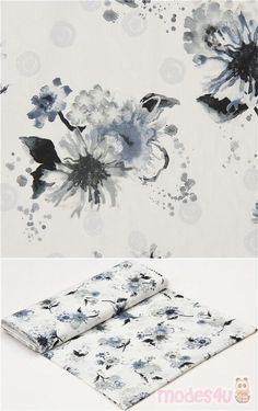 "white cotton fabric with watercolor style flowers in grey, grey-blue, Material: 100% cotton, Fabric Type: smooth cotton fabric, Pattern Repeat: ca. 61cm (24"") #Cotton #Flower #Leaf #Plants #USAFabrics"