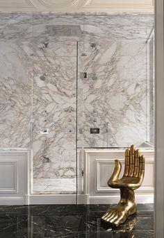 Lenny Kravitz Paris apartment bathroom with carrera marble and Pedro Friedeberg hand chair Decoration Inspiration, Bathroom Inspiration, Interior Inspiration, Bathroom Ideas, Hand Chair, Casa Milano, White Marble Bathrooms, Bathroom Black, Master Bathroom