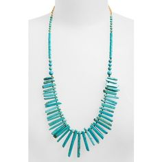 Panacea Howlite Spike Necklace ($26) ❤ liked on Polyvore featuring jewelry, necklaces, turquoise, turquoise spike necklace, blue turquoise necklace, turquoise statement necklace, turquoise jewelry and gold tone necklace