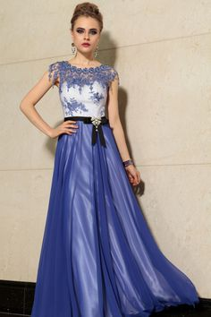 2014 Prom Dress Scoop Neckline Floor Length A Line #30889