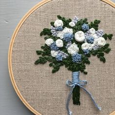 Botanical Embroidery Hoop Art - Embroidered Bouquet, Hand Stitched Florals, Blue Hydrangea Flowers, Romantic Anniversary Gift For Her Hand Embroidery Kits, Embroidery Flowers Pattern, Embroidery Hoop Art, Ribbon Embroidery, Embroidered Flowers, Romantic Anniversary, Hydrangea Flower, Satin Stitch, Bouquet
