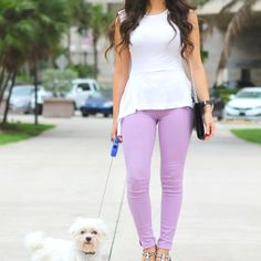 Lavender jeans with a  peplum top