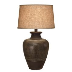 Sleek and sophisticated, the Bronze Jar table lamp wows with its hand applied accents, warm brown finish and durable drum shade. Buffet Lamps, Vase Shapes, Dark Beige, Ceramic Table Lamps, Drum Shade, Lamp Light, Living Spaces, Living Rooms, Bulb