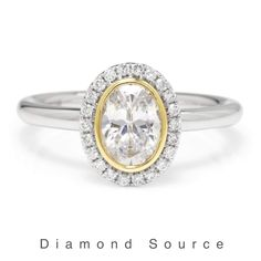 White gold and yellow gold halo oval diamond engagement wedding ring. Simple Engagement Rings Oval, Blake Lively Engagement Ring, Vintage Gold Engagement Rings, Split Shank Engagement Rings, Engagement Ring Shapes, Engagement Sets, Three Stone Engagement Rings, Oval Diamond, Solitaire Setting