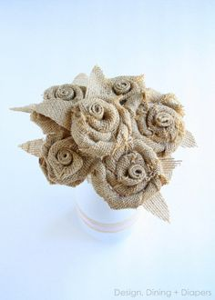 Awesome DIY Rosette and Burlap Bouquet Tutorial by Design, Dining + Diapers via the36thavenue.com