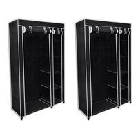 Lot de 2 armoires étagères de rangement noires