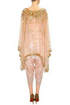 PAPA DON'T PREACH Rose gold embroidered kaftan with peach shimmer crop top and dhoti pants available only at Pernia's Pop-Up Shop.