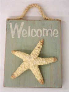 Welcome - Wood Sign w/ Resin Starfish & Rope Hanger Nautical Decor