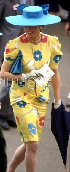 "Another Lady Diana, when she was Princess of Wales at Royal Ascot on June 18,1987. Something conceptually interesting about these ""oh, so eighties"" poppies and the flat hat."