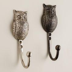 Metal Owl Hooks, Set of 3 | World Market