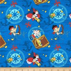 Disney Jake in Neverland Jake Treasure Ahoy Toss Blue from @fabricdotcom  Licensed by Disney to Springs Creative Products, this cotton print is perfect for quilting, apparel and home décor accents. Colors include blue, red, white, lavender, yellow and green. This is a licensed fabric and not for commercial use.<P><P>Due to licensing restrictions, this item can only be shipped to USA, Puerto Rico, and Canada.