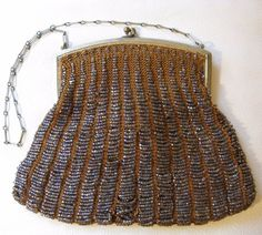 Bags, Handbags & Cases Clever Antique Art Nouveau Gold Filigree Frame Hand Knit Brown Iridescent Bead Purse