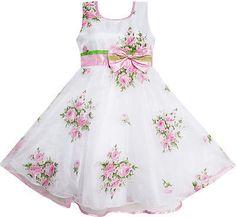 Mädchen Kleid Rosa Blume Hochzeit Weiß Prinzessin Einzigartig Bogen Gr.98-146