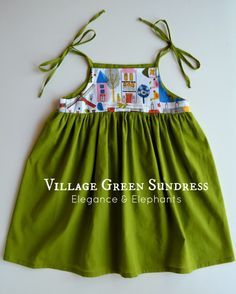 Village Green Sundress Tutorial by Elegance and Elephants for Melly Sews Days of Sundresses Like the idea of different coloured bodice but not the ties for little ones (dangerous) Sewing Kids Clothes, Sewing For Kids, Baby Sewing, Sew Baby, Kids Clothing, Clothing Patterns, Dress Patterns, Sundress Tutorial, Sundress Pattern