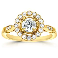 Annello by Kobelli 14k Yellow Gold 3/4ct TDW Round Diamond Antique Floral Engagement Ring (Size 7.5), Women's