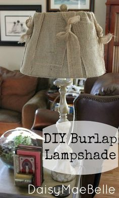 Burlap Lampshade @ DaisyMaeBelle.  Good instructions on how to easily make this very lovely lamp.  Perfect for any country decor!