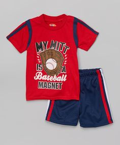 Look at this #zulilyfind! Sweet & Soft Red & Navy 'Baseball Magnet' Tee & Shorts - Infant & Toddler by Sweet & Soft #zulilyfinds