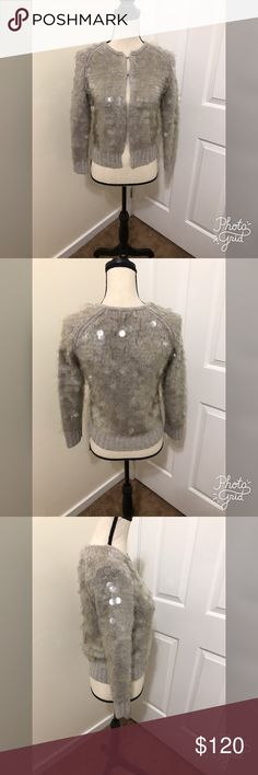 J. Crew cardigan Large sequins gray sweater very heavy thick two latch hooks for closure in the front. J. Crew Sweaters Cardigans