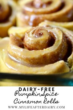 These deliciously dairy free pumpkin spice cinnamon rolls are the perfect fall morning breakfast. They are quick and easy to make, with minimal rise time and maximum flavor. These soft and delicious homemade cinnamon rolls pack tons of delicious fall flavors like pumpkin spice, cinnamon, and pumpkin puree. #cinnamonrolls #pumpkinspice #dairyfree