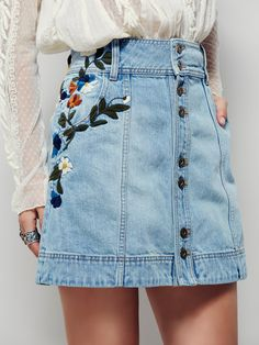 Jackson Embroidered Denim Skirt | This vintage-inspired denim mini skirt will…