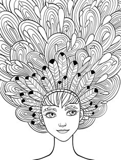 10 Crazy Hair Adult Coloring Pages  Davlin Publishing #adultcoloring