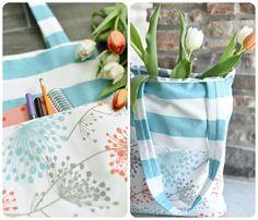 3 tasche nähen für dummies einfache handtasche in weiß und blau orange und weiße tulpen Für Dummies, Gym Bag, Orange, White Tulips, Diy Handbag, Striped Fabrics, Bag Tutorials, Small Bags