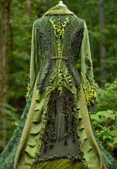 Sweater Coat woodland patchwork bohemian textured green corset style. This fantastic piece of apparel artwork doesnt deserve a life in a closet.