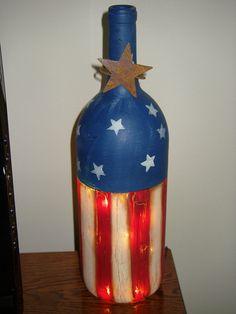 Lighted Patriotic Wine Bottle. I could make that